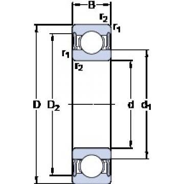 35 mm x 62 mm x 14 mm  SKF W 6007-2RS1 deep groove ball bearings